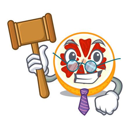 Judge grapefruit in a mascot wooden bowl vector illustration