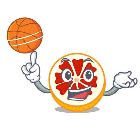 With basketball grapefruit in a cartoon fruit basket vector illustration