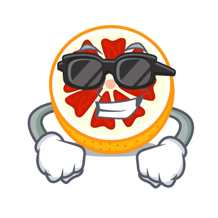 Super cool grapefruit slices on a cartoon plate vector illustration Vector Illustratie