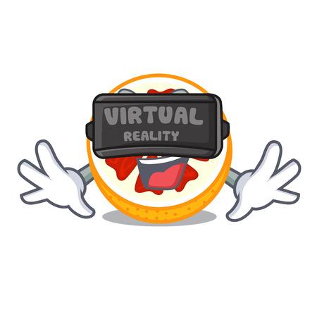 Virtual reality fresh grapefruit fruit in shape character vector ilustration Illustration