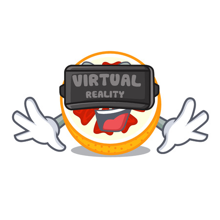 Virtual reality fresh grapefruit fruit in shape character vector ilustration 矢量图像
