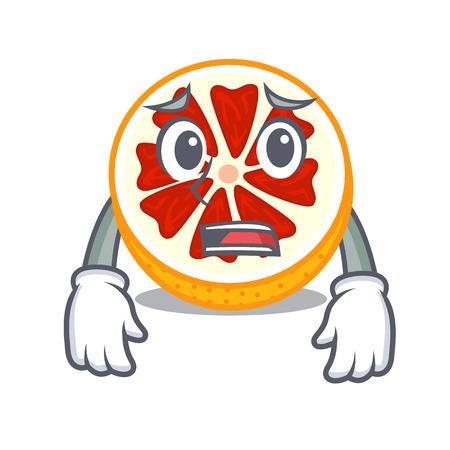 Afraid fresh grapefruit fruit in shape character vector ilustration Ilustração