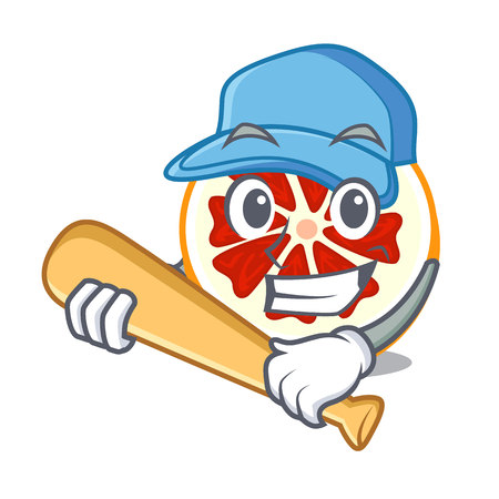 Playing baseball grapefruit in a cartoon fruit basket vector illustration Ilustração