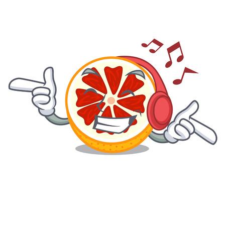 Listening music fresh grapefruit fruit in shape character vector ilustration
