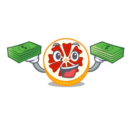 With money bag fresh grapefruit fruit in shape character vector ilustration
