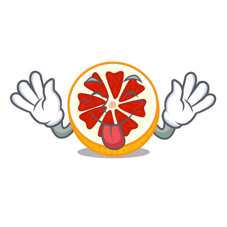 Tongue out grapefruit in a mascot wooden bowl vector illustration