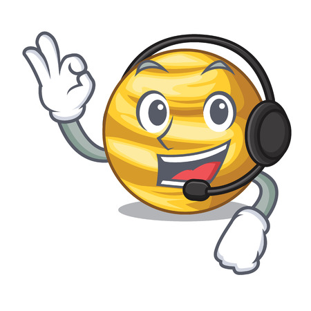 With headphone planet venus isolated with on mascot vector illustration