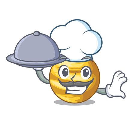 Chef with food shape planet Venus is very beautiful 向量圖像