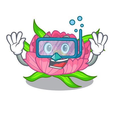 Diving peony flowers in the cartoon pots vector illustration