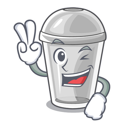 Two finger plastic cup in the character image vector illustration Stock Illustratie