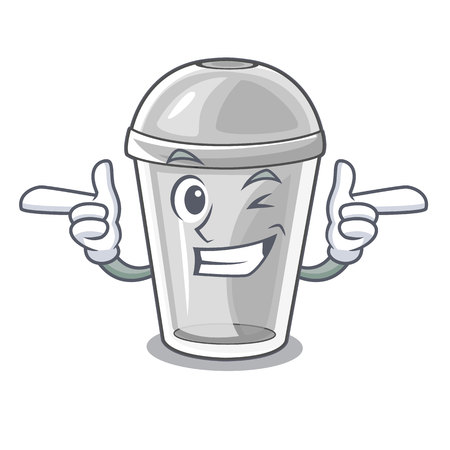 Wink plastic cup in the character image vector illustration