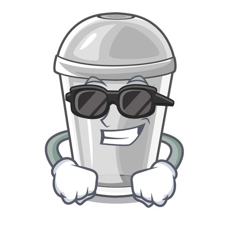 Super cool plastic cup in the character image vector illustration