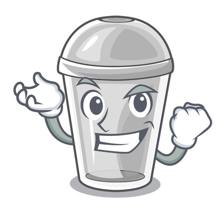 Successful plastic cup in the character image vector illustration