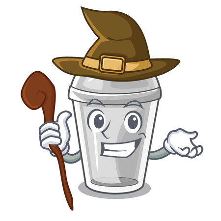 Witch plastic cup isolated on with mascot vector illustration