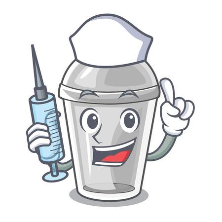 Verpleegkundige plastic beker in de karakter afbeelding vectorillustratie