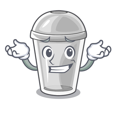 Grinning plastic cup in the character image vector illustration Illustration