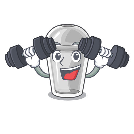 Fitness plastic cup in the cartoon form vector illustration