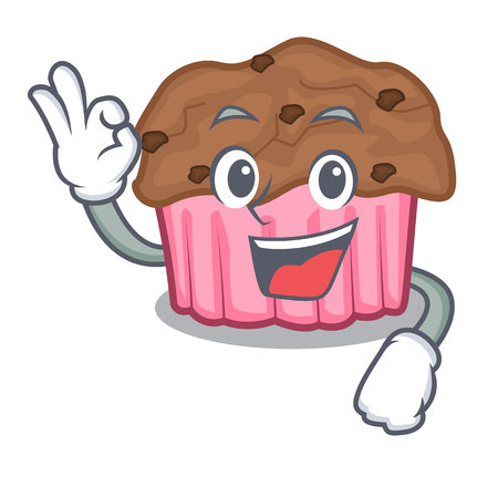 Okay cartoon chocolate muffins ready to eat vector illustration