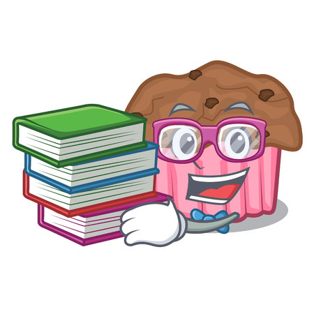 Student with book chocolate muffins on a mascot plate
