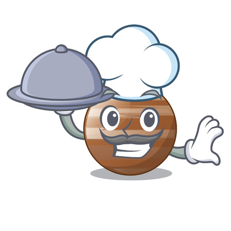 Chef with food jupiter planet the isolated with mascot 向量圖像