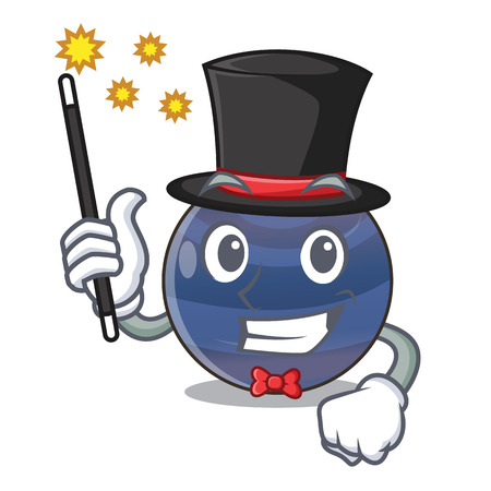 Magician picture neptune planet in cartoon form vector illustration