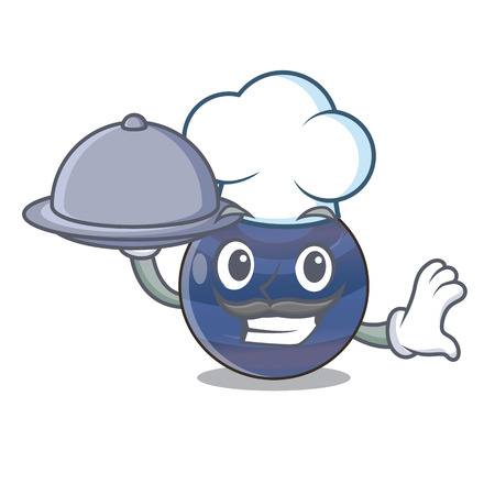Chef with food planet neptune above the sky cartoon vector illustration 向量圖像