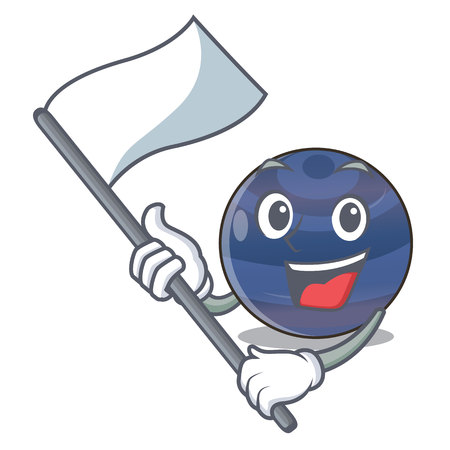 With flag picture neptune planet in cartoon form vector illustration