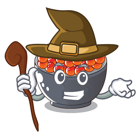 Witch salmon roe character ready to eat vector illustration