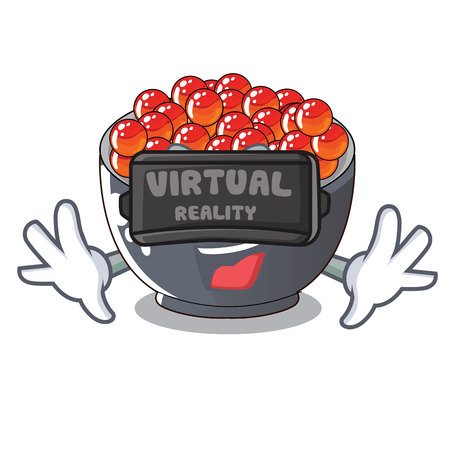 Virtual reality salmon roe character ready to eat vector illustration Illustration