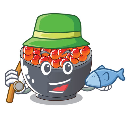 Fishing salmon roe character ready to eat vector illustration Иллюстрация