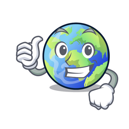 Thumbs up earth above the sky the mascot vector illustration