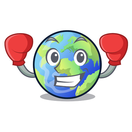 Boxing earth in the shape on character vector illustration