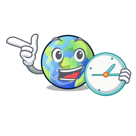 With clock earth above the sky the mascot vector illustration