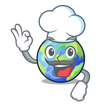 Chef earth above the sky the mascot vector illustration