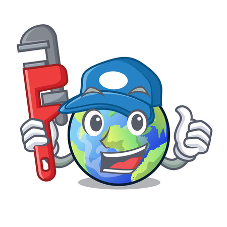 Plumber earth isolated with in the cartoons vector illustrtaion