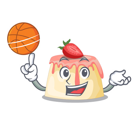 With basketball Strawberry pudding in wooden cartoon bowl vector illustration