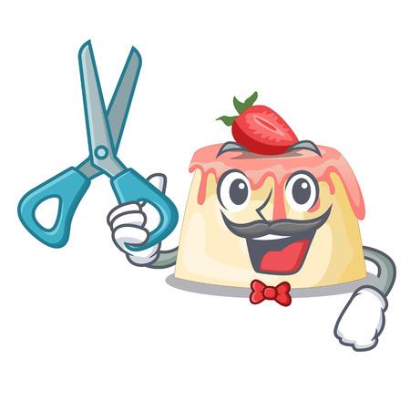 Barber Strawberry pudding in wooden cartoon bowl vector illustration Illustration
