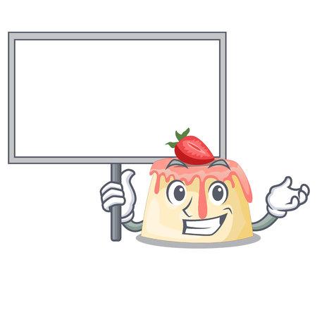 Bring board Strawberry pudding in wooden cartoon bowl vector illustration Archivio Fotografico - 126325169