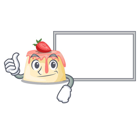Thumbs up with board Strawberry pudding in wooden cartoon bowl vector illustration Illustration
