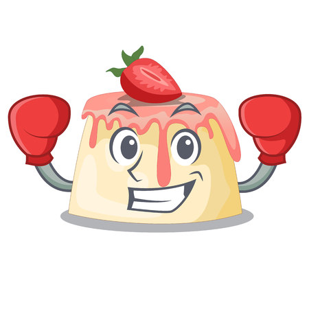 Boxing Strawberry pudding in wooden cartoon bowl vector illustration Illustration