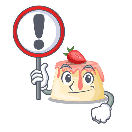 With sign Strawberry pudding in wooden cartoon bowl vector illustration