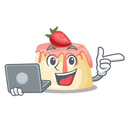 With laptop Strawberry pudding in wooden cartoon bowl vector illustration Illustration