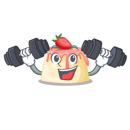Fitness Strawberry pudding in wooden cartoon bowl vector illustration Illustration