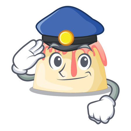 Police Strawberry pudding in wooden cartoon bowl vector illustration