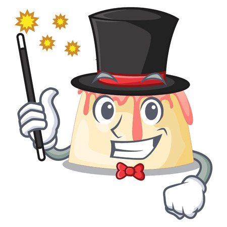 Magician Strawberry pudding served on mascot plate vector illustration Illustration