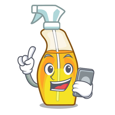 With phone bottle spray in the character form vector illustration