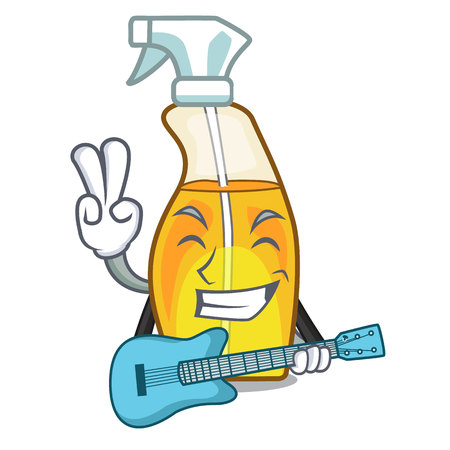 With guitar spray bottle on the mascot table Stock Illustratie