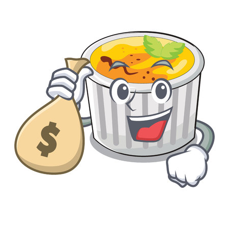 With money bag food creme brule cartoon ready eat vector illustration