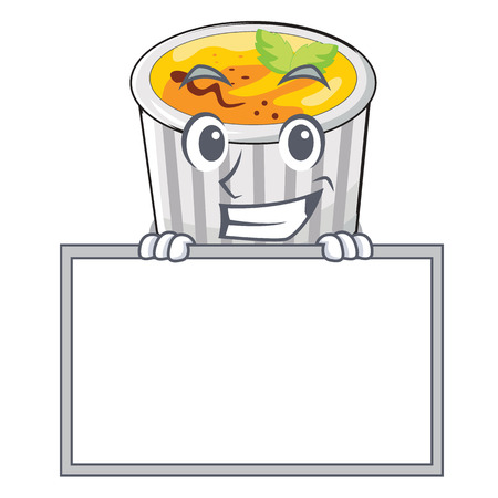 Grinning with board food creme brule cartoon ready eat vector illustration