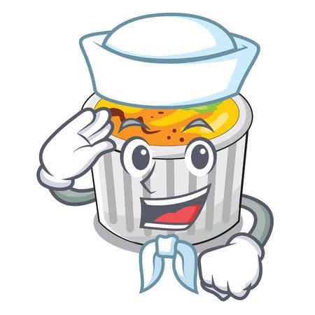 Sailor food creme brule cartoon ready eat vector illustration